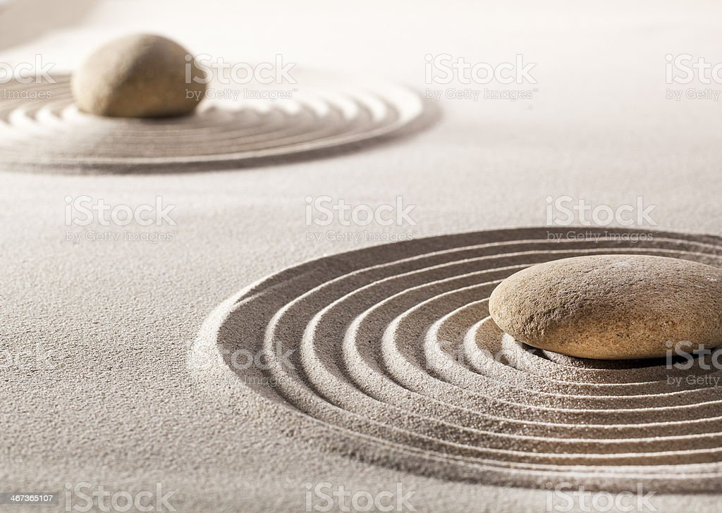 zen balance with sand and stones royalty-free stock photo