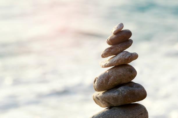 Zen Balancing Pebbles, Harmony and Balance stock photo