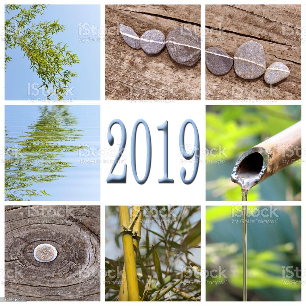 2019, zen bamboo square collage stock photo