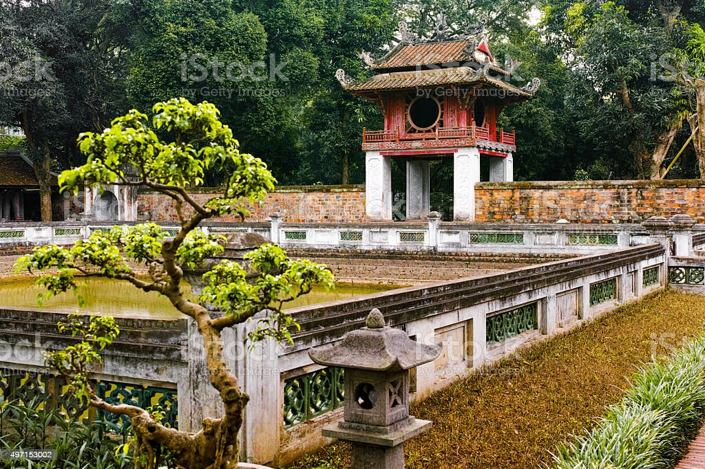 Zen Garden at Temple of Literature, Hanoi Vietnam stock photo