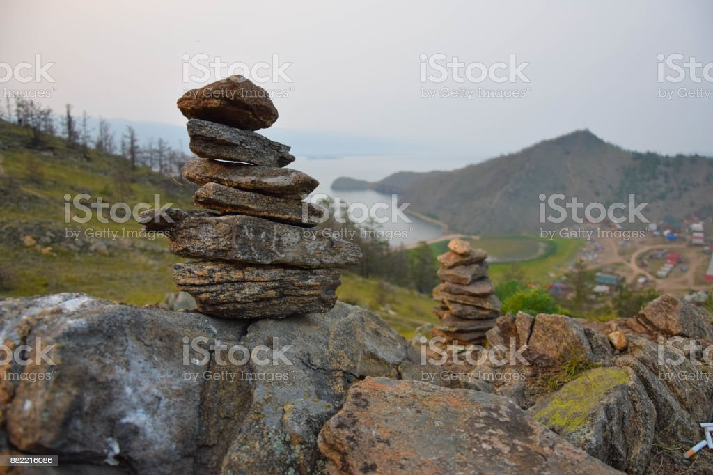 Zen Garden rocks. View on Baikal Lake, Siberia. Summer stock photo