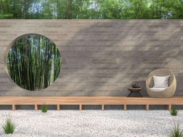 Zen garden style idea 3d render stock photo