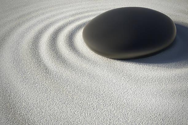 zen garten mit stein und seine harmonie wellen - yin yoga stock-fotos und bilder