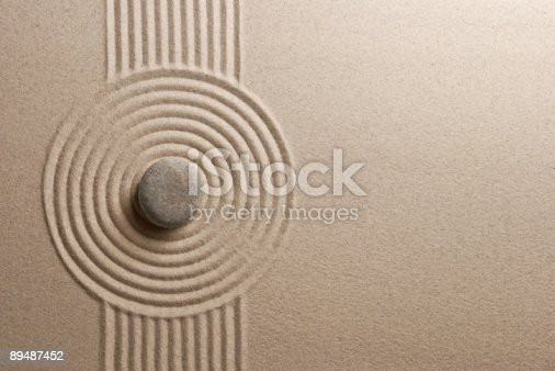 istock A Zen garden with a very unique and well made design in it  89487452