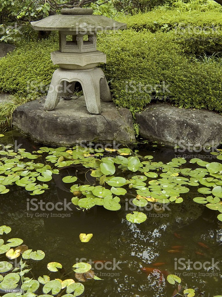 zen garden&pond royalty-free stock photo