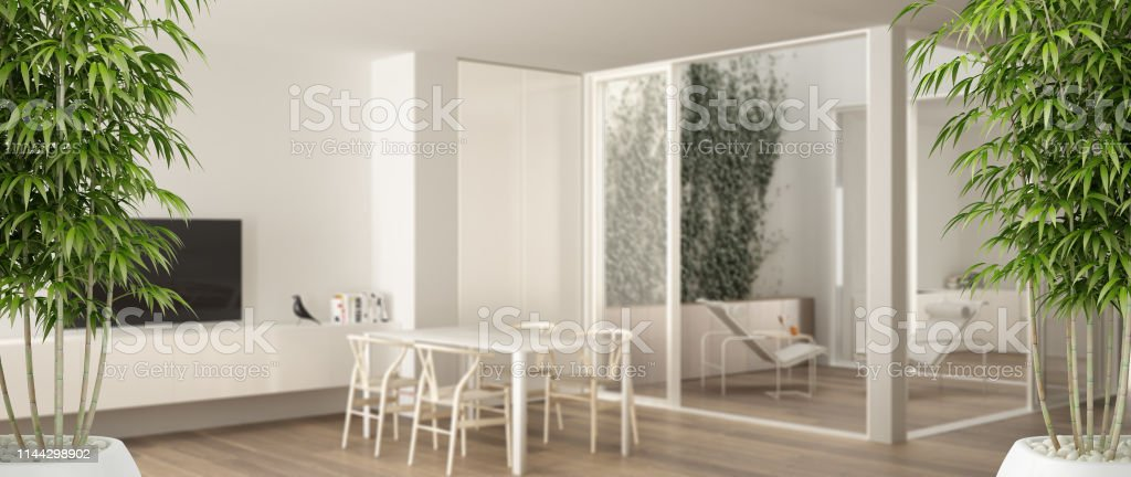 Zen Interior With Potted Bamboo Plant Natural Interior Design Concept Minimalist Living Room With Dining Table Big Windows On Balcony Terrace Modern Architecture Concept Idea Stock Photo Download Image Now Istock