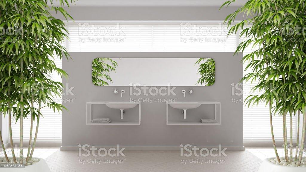 Zeninterieur mit eingemachten bambuspflanze natürliche