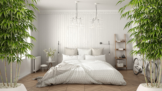 istock Zen interior with potted bamboo plant, natural interior design concept, scandinavian minimalist bedroom with herringbone parquet, white architecture 982368118
