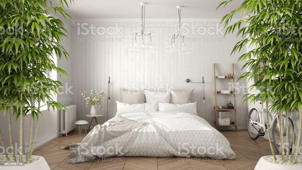 Zen interior with potted bamboo plant, natural interior design concept, scandinavian minimalist bedroom with herringbone parquet, white architecture stock photo