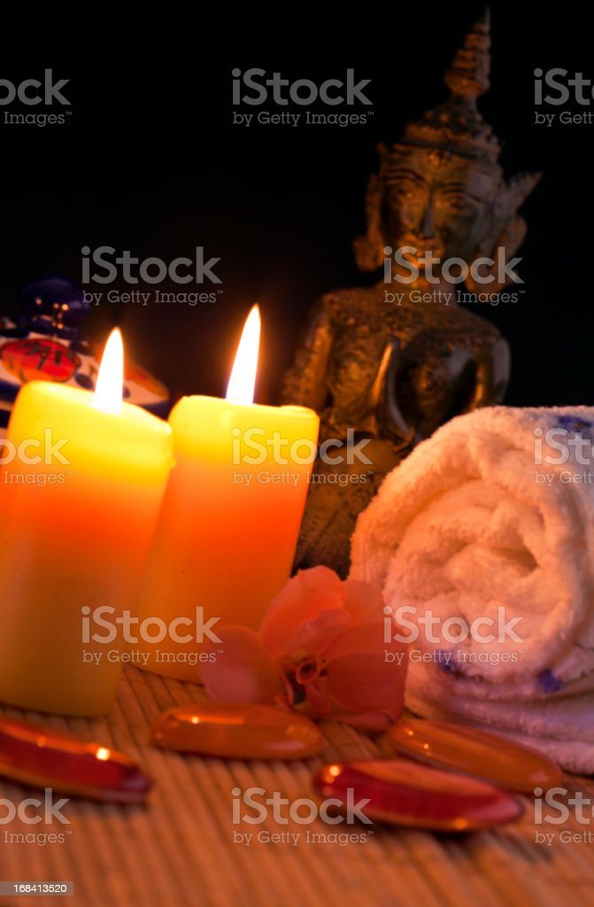 Buddha and Candle in spa