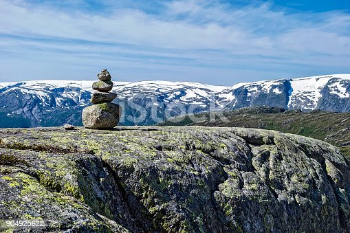 Zen like stones stacked up in balance in Norway