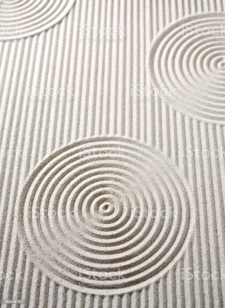 Zen Lines and Circles in Sand stock photo