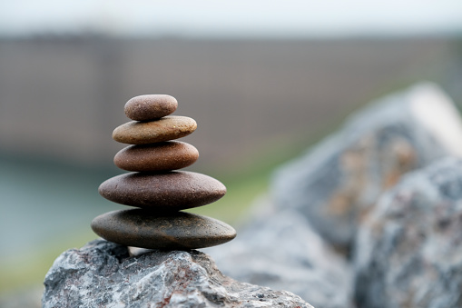 Stone arrangement into Zen style
