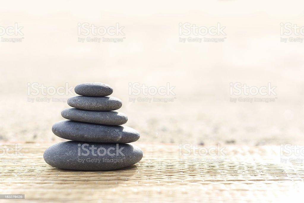 Zen Rocks on Bamboo Mat stock photo