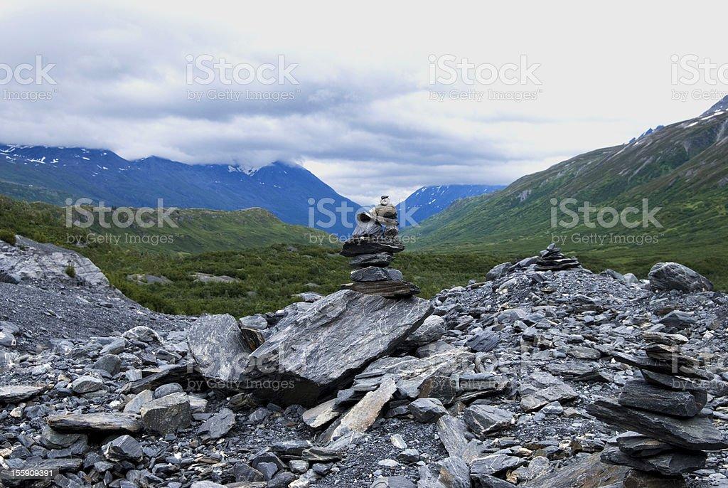 Zen rocks with Alaska scenery royalty-free stock photo