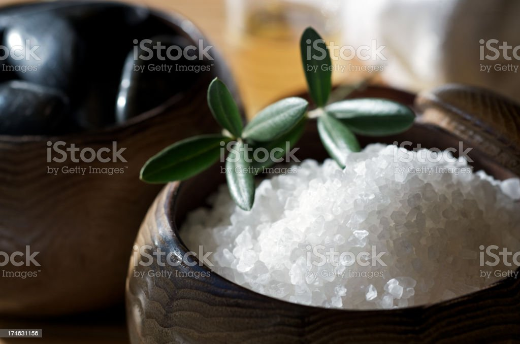 Zen Spa Scrubbing Salts for Skin Care with Stones royalty-free stock photo