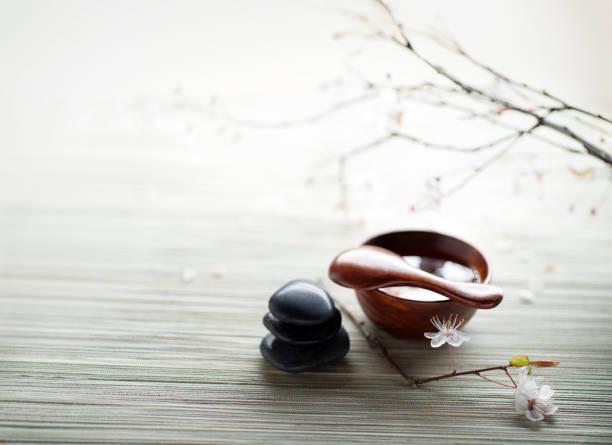 zen spa still life - steingut geschirr stock-fotos und bilder