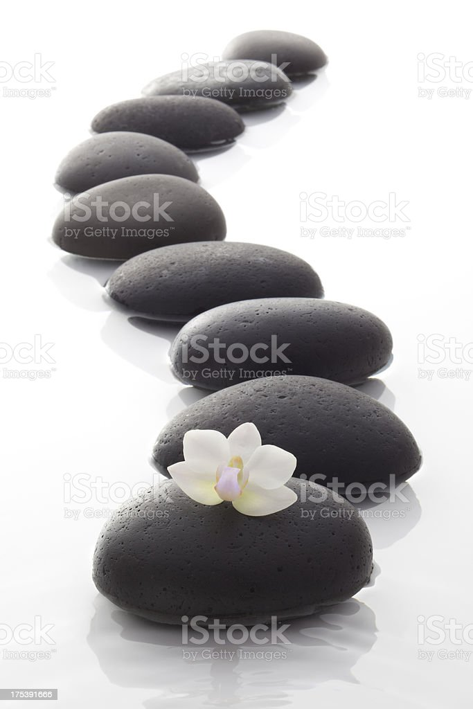 zen / spa stones with flowers royalty-free stock photo