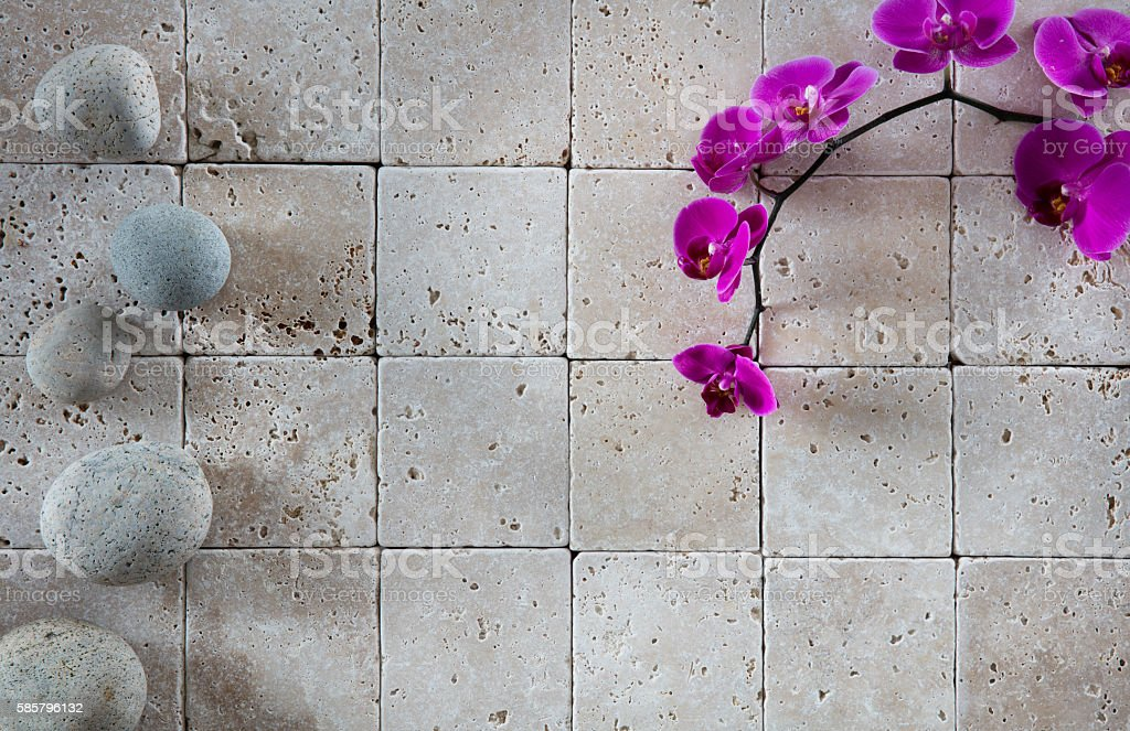 Zen Spa Wallpaper With Pink Orchids And Feng Shui Pebbles