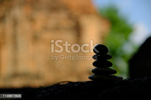 istock Zen stone at the ancient Cambodian ruins castle 1145872505