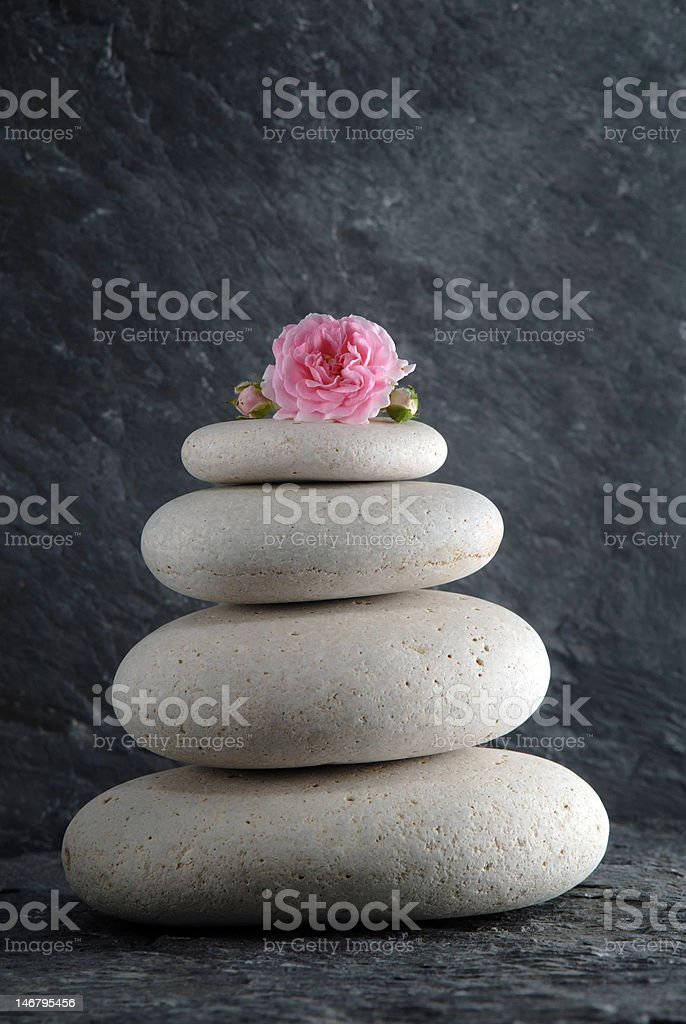 zen stones and rose royalty-free stock photo