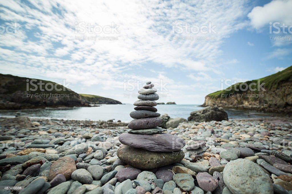 Zen Stones at the beach stock photo