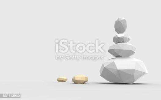 istock Zen Stones geometric Lowpoly Ideas and single art 532413930