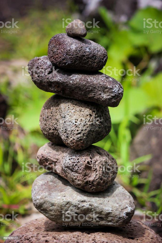 Zen stones in Iao Valley, Maui, Hawaii stock photo