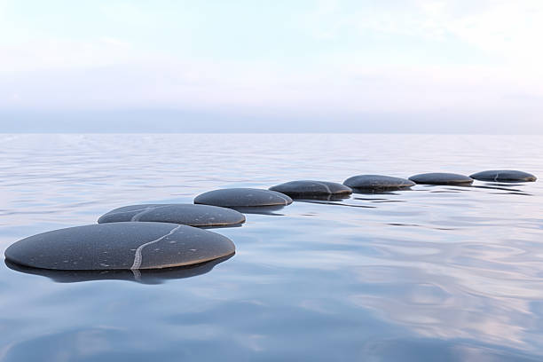 Zen stones in water Zen stones in water with reflection - peace meditation relaxation concept tranquil scene stock pictures, royalty-free photos & images