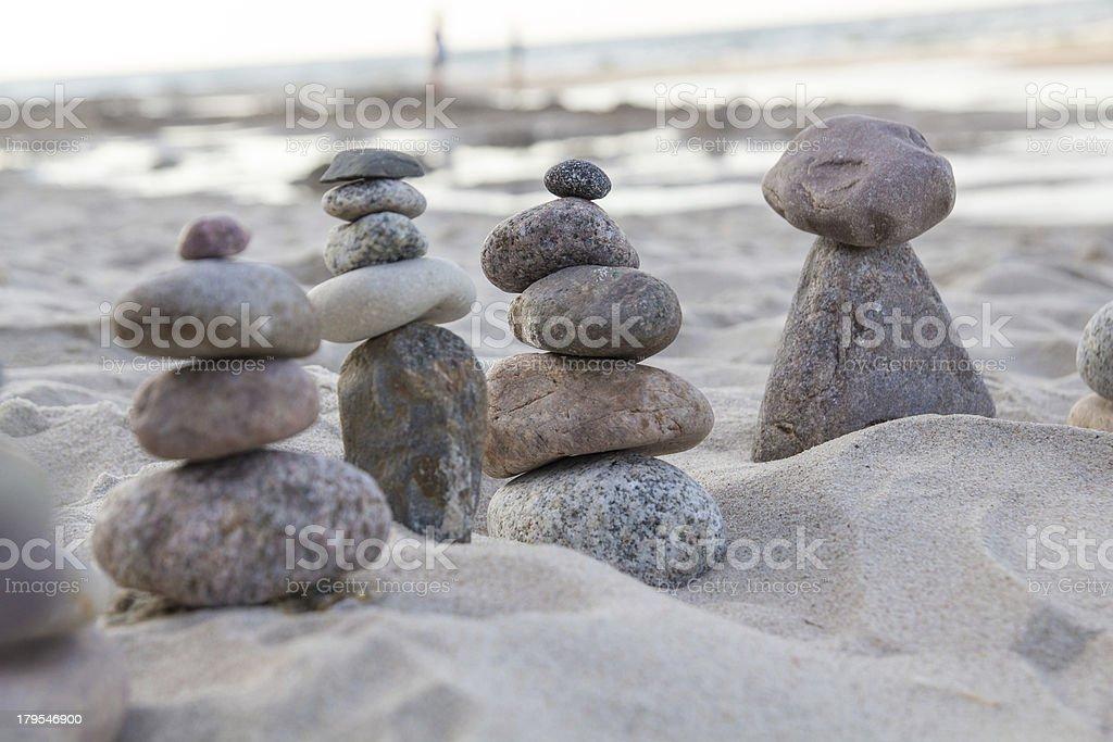 Zen stones on a beach royalty-free stock photo