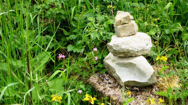 Zen stones on a rock in a meadow stock photo