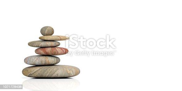 Zen stones stack on white background. 3d illustration