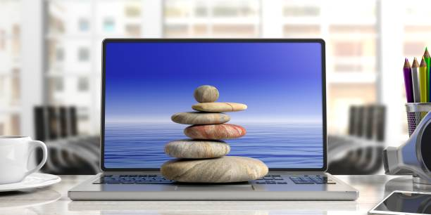 zen stones stack on a computer, office background. 3d illustration - balance graphics foto e immagini stock