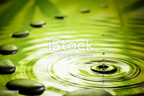 Photography of massage stones in water. As is - some clean up only.