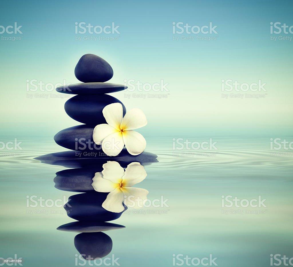 Zen stones with frangipani stock photo