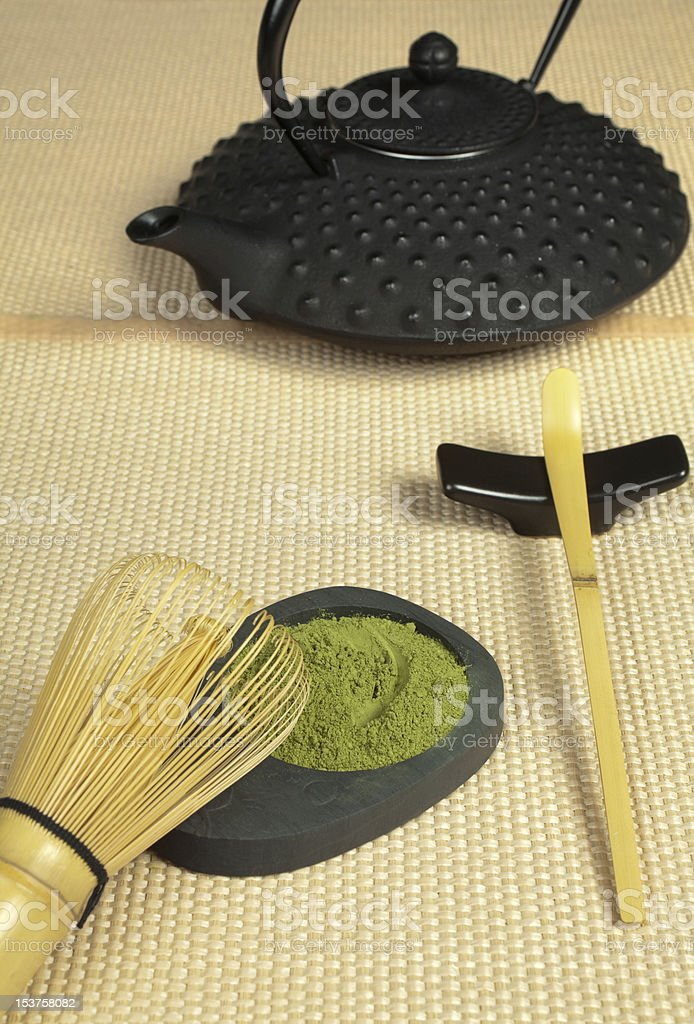 Zen tea on tatami royalty-free stock photo