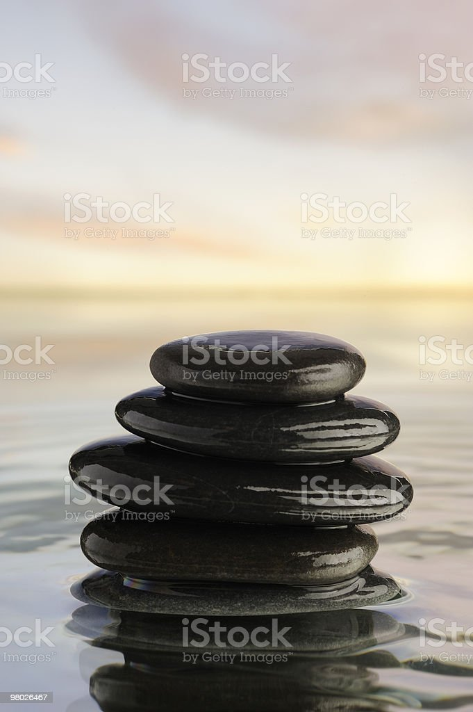 Zen tower of pebbles . royalty-free stock photo