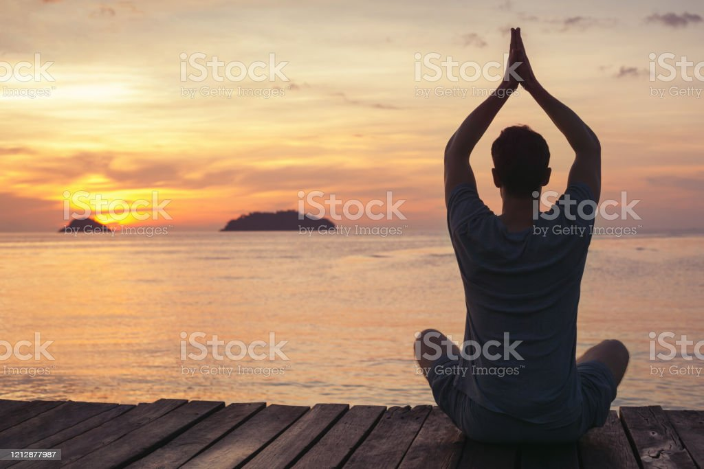 Zen Yoga And Meditation Silhouette Of Man Sitting On Pier At Sunset Stock Photo Download Image Now Istock