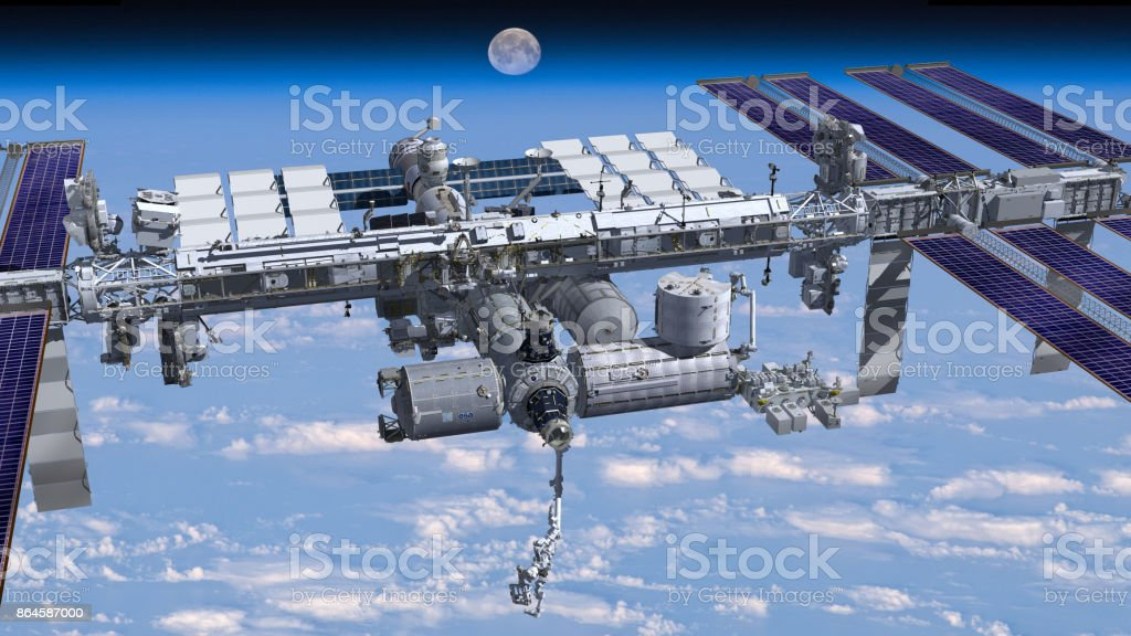 Zenith image of the  International Space Station flying above Earth. 3D Rendering of the zenith side of the International Space Station flying above Earth, showing its detailed modular architecture. Elements of this image furnished by NASA. Architecture Stock Photo