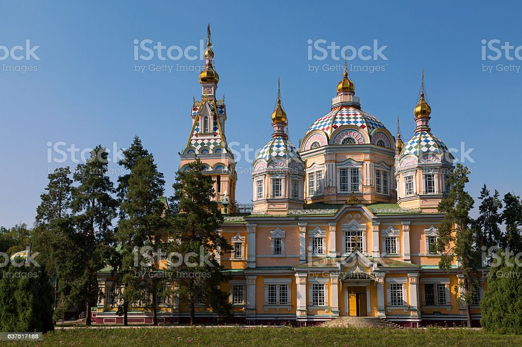 Zenkov Cathedral in Almaty, Kazakhstan stock photo