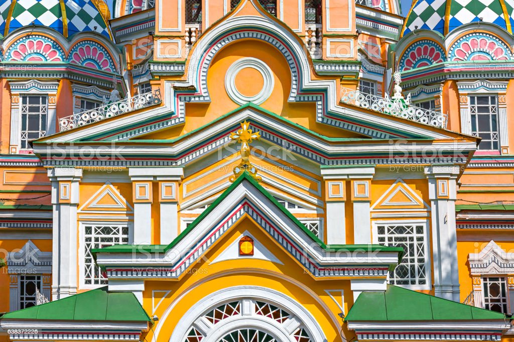 Zenkov Cathedral in Almaty, Kazakhstan stock photo