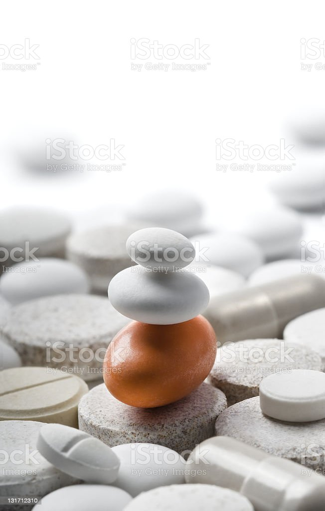 zen-style pills isolated on white royalty-free stock photo