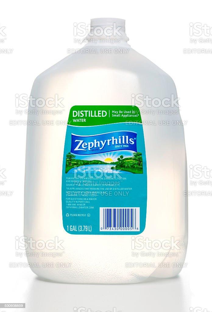 Zephyrhills distilled water bottle stock photo