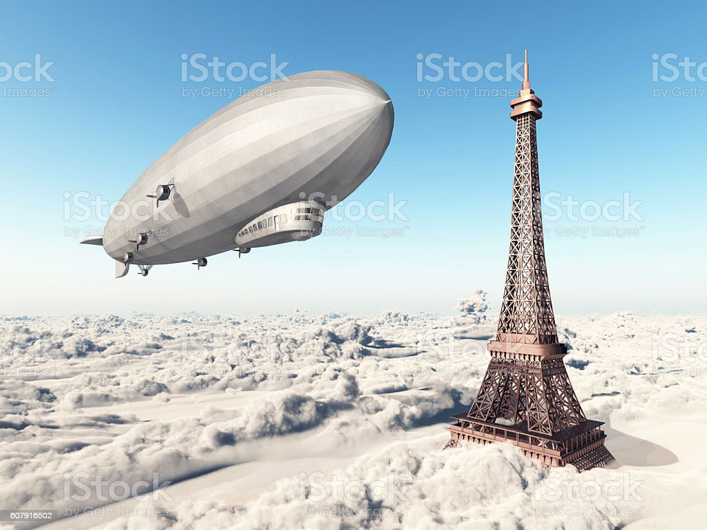 Zeppelin and Eiffel Tower stock photo