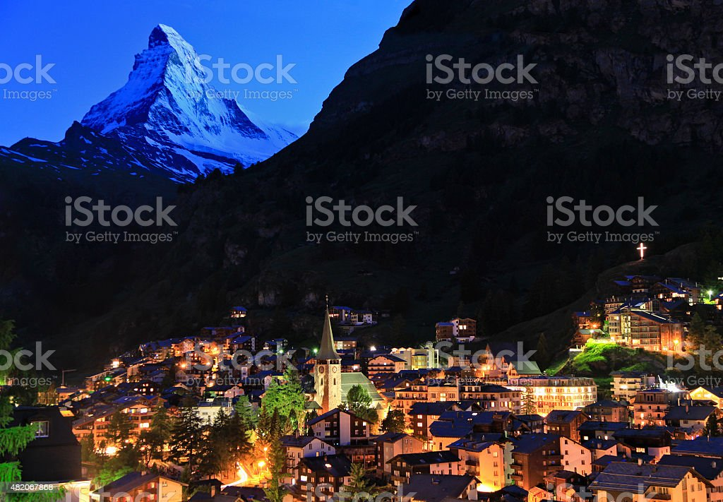 Zermatt and Matterhorn at dusk, Swizerland stock photo