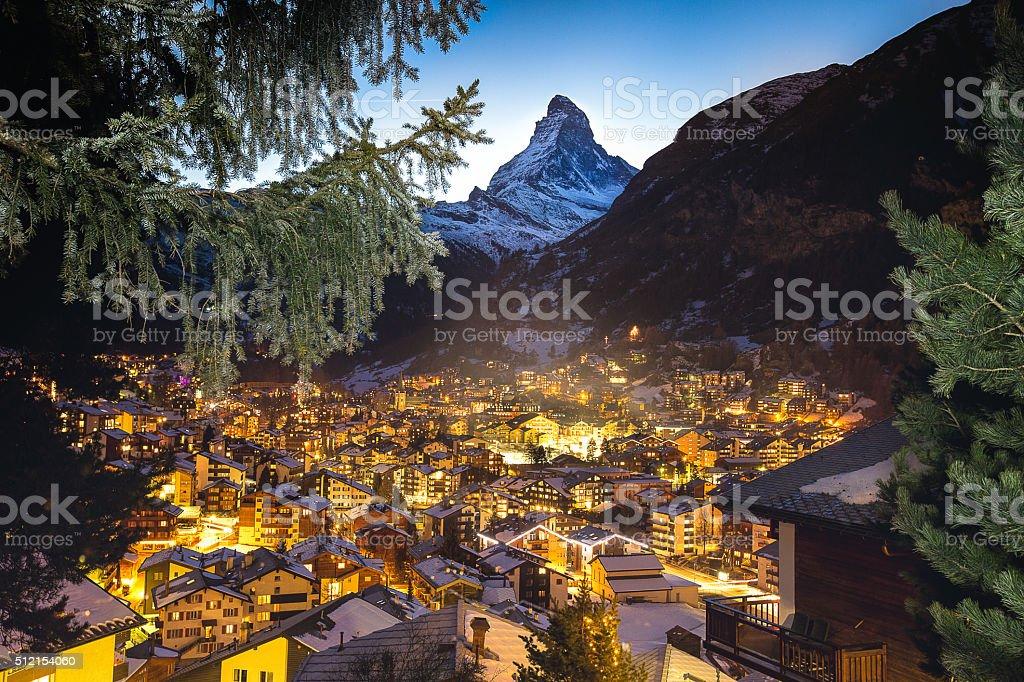 Zermatt and Matterhorn framed by the branches stock photo