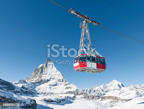 A cable car at the ski resort of Zermatt in Switzerland, with the peak of the Matterhorn in the background.