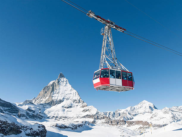Zermatt cable car A cable car at the ski resort of Zermatt in Switzerland, with the peak of the Matterhorn in the background. zermatt stock pictures, royalty-free photos & images