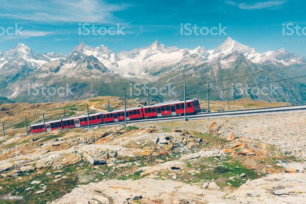 Zermatt mountain railway, Switzerland stock photo