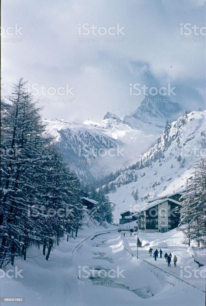 Zermatt, Suiza, 1976 - foto de stock